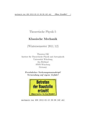 Theoretische Physik I: Klassische Mechanik (Wintersemester 2011/12)