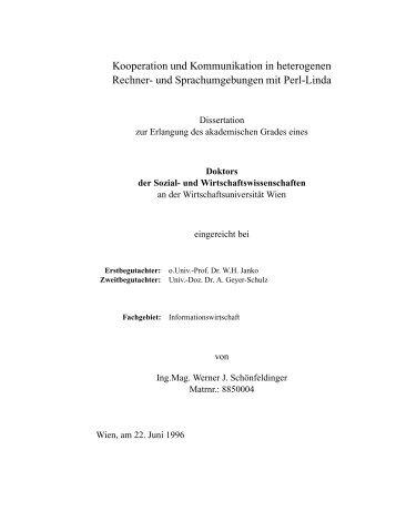 Kooperation und Kommunikation in heterogenen Rechner- und ...
