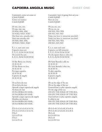 CAPOEIRA ANGOLA MUSIC SHEET ONE - Ele-mental