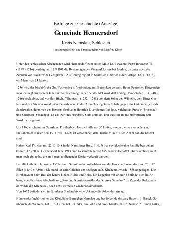 Beiträge zur Geschichte der Gemeinde Hennersdorf - Namslau