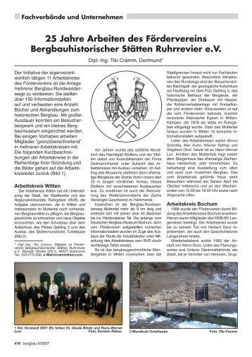 25 Jahre Arbeiten des Fördervereins Bergbauhistorischer Stätten ...