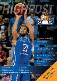 Aus dem Inhalt: Vorberichte Spielplan 2011/12 ... - Fraport Skyliners
