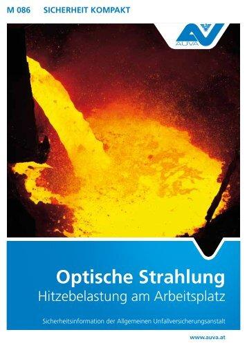 M 086 Optische Strahlung - Hitzebelastung am Arbeitsplatz