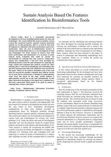 Sustain Analysis Based On Features Identification In ... - ijcee