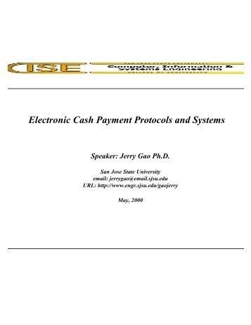 Electronic Cash Payment Protocols and Systems