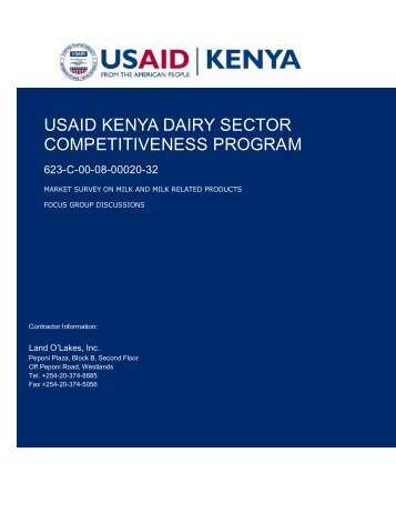 USAID KENYA DAIRY SECTOR COMPETITIVENESS PROGRAM