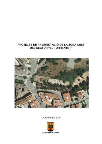 """projecte de pavimentació de la zona oest del sector """"el torrentet"""""""
