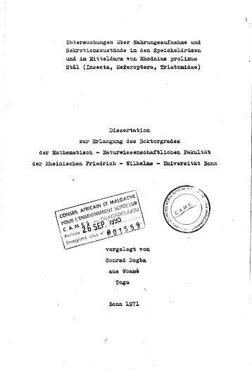 Untersuchungen über Nahrungsaufnahme und Sekretionszustände ...