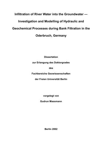 Infiltration of River Water into the Groundwater - Dissertation - Verlag ...