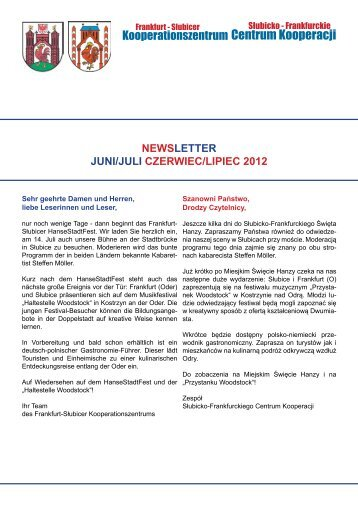 Czerwiec/Lipiec 2012 - Frankfurt-Słubicer Kooperationszentrum