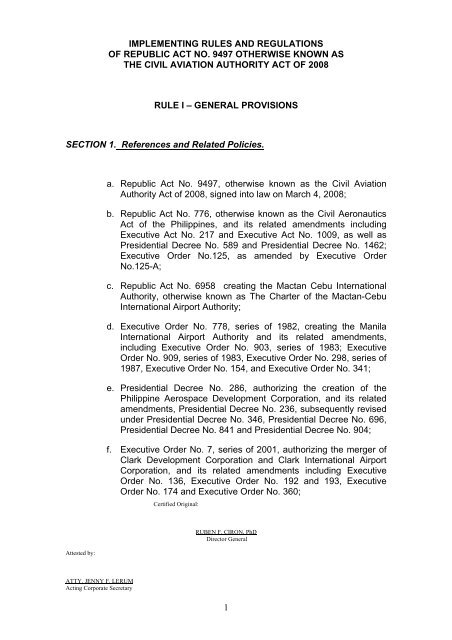 implementing rules and regulations - Civil Aviation