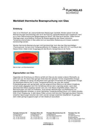 Merkblatt thermische Beanspruchung von Glas - Flachglas Schweiz