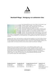 Merkblatt Pflege / Reinigung von satiniertem Glas - Flachglas Schweiz