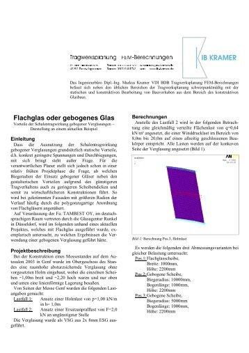 Flachglas oder gebogenes Glas - Tragwerksplanung & FEM ...