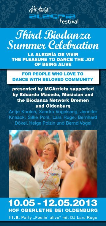 Biodanza Summer Celebration 2013 PDF - Biodanza Festivals