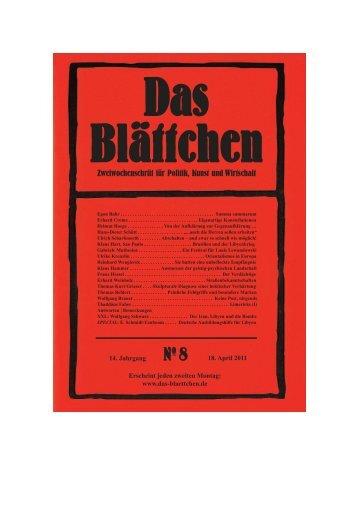 Blättchen 2011_08.qxd - Verlag für Berlin-Brandenburg