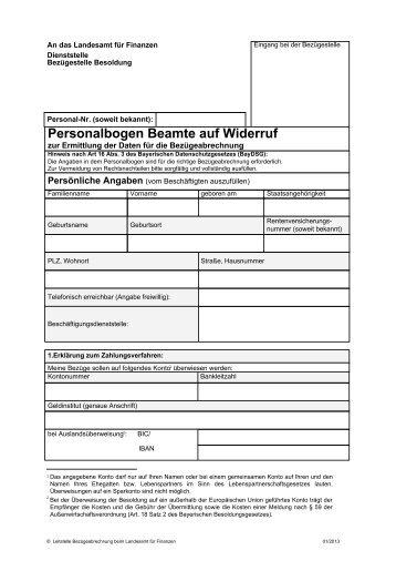 PDF: Personalbogen Beamte auf Widerruf - Landesamt für Finanzen ...