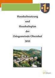 Haushaltsplan - Verbandsgemeinde Nassau
