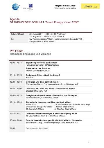 """Agenda STAKEHOLDER FORUM 1 """"Smart Energy Vision 2050"""" Pre-Forum ..."""