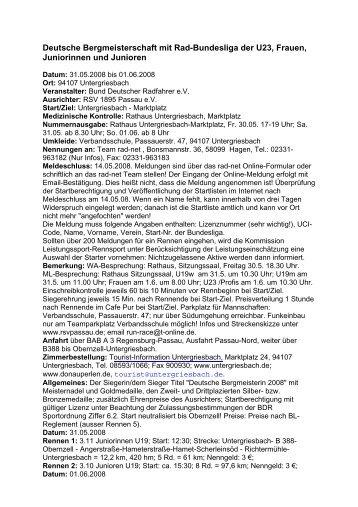 Deutsche Bergmeisterschaft mit Rad-Bundesliga der U23, Frauen ...