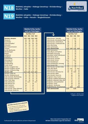 N18/N19 Fahrplan und Linienweg