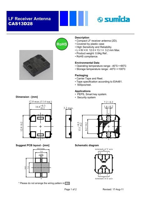 LF Receiver Antenna CAS13D28