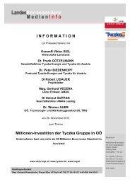 I N F O R M A T I O N Millionen-Investition der Tyczka Gruppe in OÖ