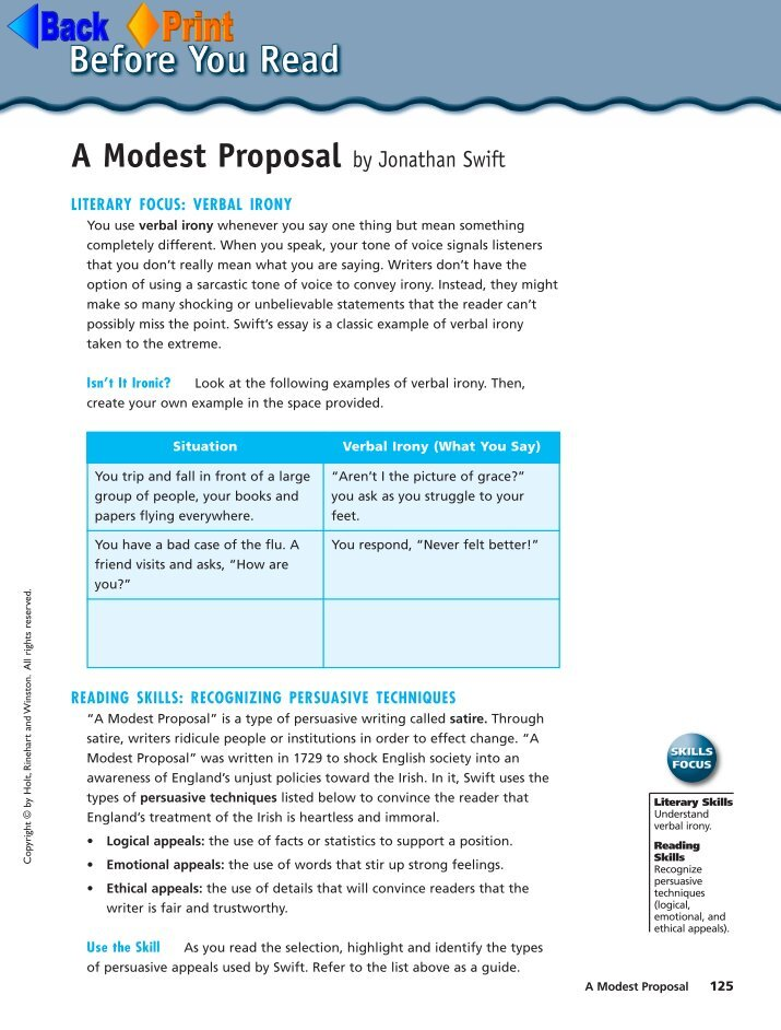 "a modest proposal commmentary A modest proposal and other satires is a collection of satirical works of political, social, and religious commentary by jonathan swift the most famous of his essays—perhaps the most famous essay of satire in the english language—is ""a modest proposal for preventing the children of poor."