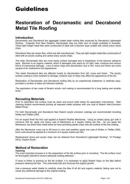 Nutech Decrabond & Decramastic Guidelines - Roof Coatings