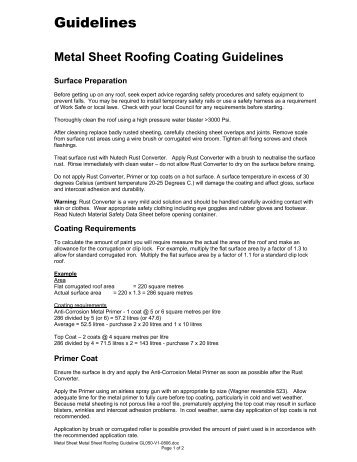 Nutech Metal Sheet Roofing Guidelines - Roof Coatings