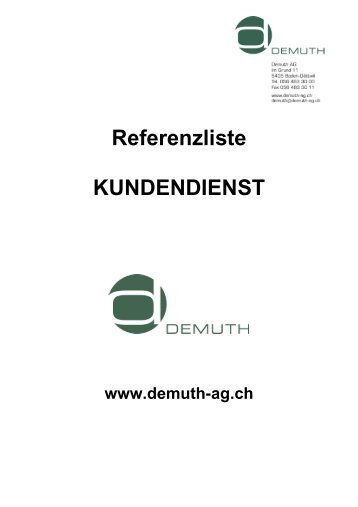 Referenzliste KUNDENDIENST - Demuth AG