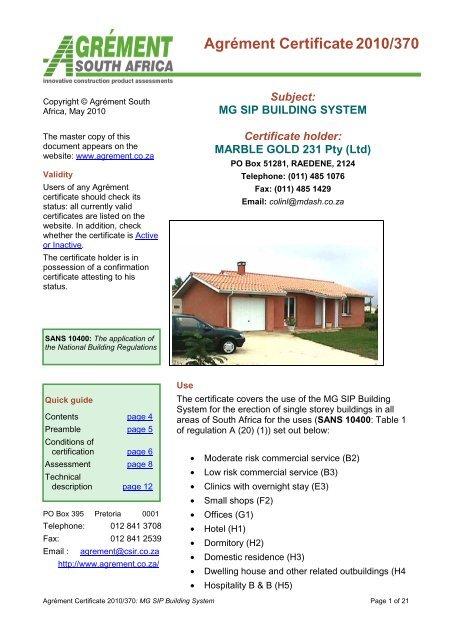 MG SIP BUILDING SYSTEM Certificate holder - DV8 | Alternative