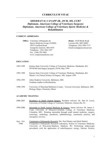 CURRICULUM VITAE SHERMAN O. CANAPP JR., DVM, MS, CCRT ...