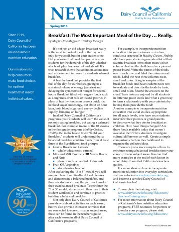 Spring 2010 Newsletter - Dairy Council of California