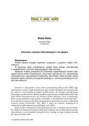 Dialog a nowe media - Uniwersytet Śląski