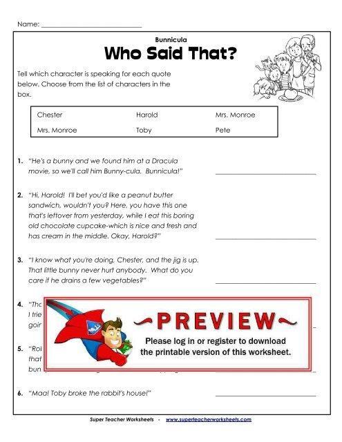 Who Said That? - Super Teacher Worksheets