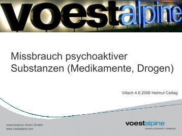 Missbrauch psychoaktiver Substantzen (Medikamente, Drogen)