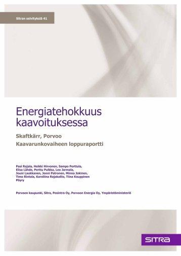 Energiatehokkuus kaavoituksessa -raporttiin - Sitra