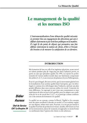 Le management de la qualité et les normes ISO - ACTIF