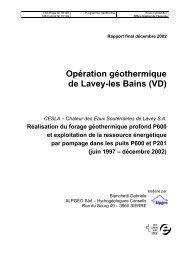 Opération géothermique de Lavey-les Bains (VD) - Alpgeo Sàrl