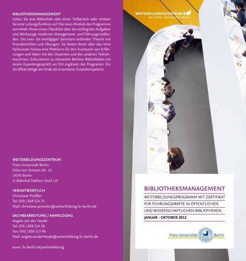 bIbLIOTHEKSMANAgEMENT - Freie Universität Berlin