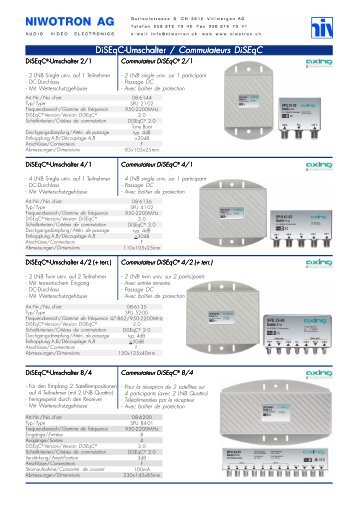 DiSEqC-Umschalter / DiSEqC-Umschalter / Commutateurs DiSEqC ...