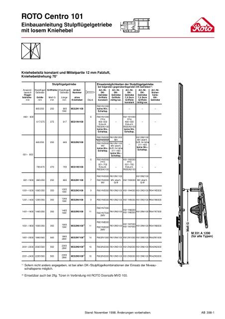 1265//MV  FFH 1201-1400 ROTO Getriebe GR