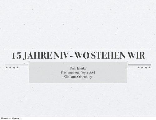 15 Jahre Niv Wo Stehen Wir Atmung Beatmung Dirk Jahnke