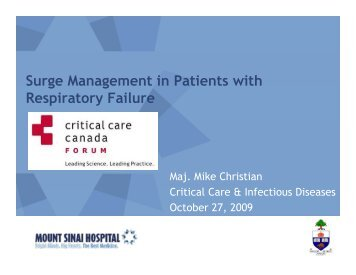 Surge Management in Patients with Respiratory Failure