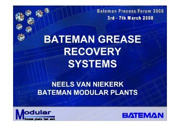 BATEMAN GREASE RECOVERY SYSTEMS
