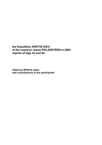 the Expedition ARKTIS-XIX/4 of the research vessel POLARSTERN ...