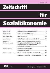 Geld – reine Gefühlssache - Zeitschrift für Sozialökonomie