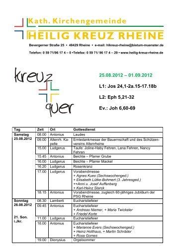 25.08.2012 – 01.09.2012 L1: Jos 24,1-2a.15-17.18b ... - Heilig-Kreuz