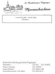 Katholische Kirchengemeinde Wippingen Pfarrbüro : Tel: 251 Fax ...